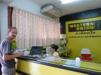 Recup de l'argent à la banque transféré par C Laos