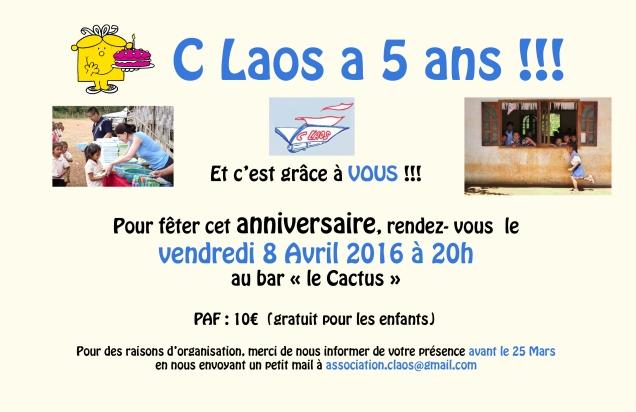 Invitation anniversaire CLAOS 5 ans